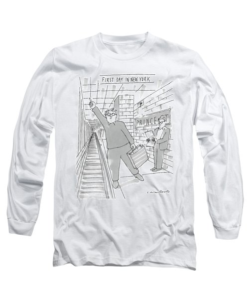 First Day In New York -- A Man On A Subway Long Sleeve T-Shirt