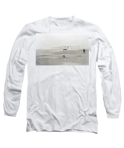 First Flight Captured On Glass Negative - 1903 Long Sleeve T-Shirt by Daniel Hagerman