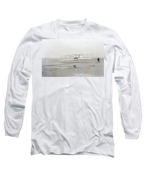First Flight Captured On Glass Negative - 1903 Long Sleeve T-Shirt