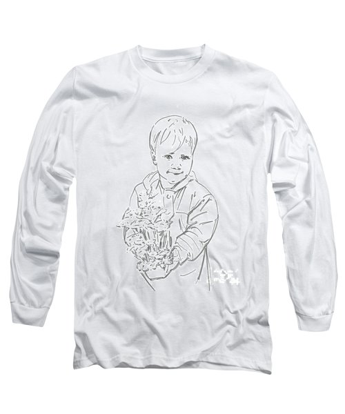 Long Sleeve T-Shirt featuring the drawing First Time Growing Strawberries  by Olimpia - Hinamatsuri Barbu