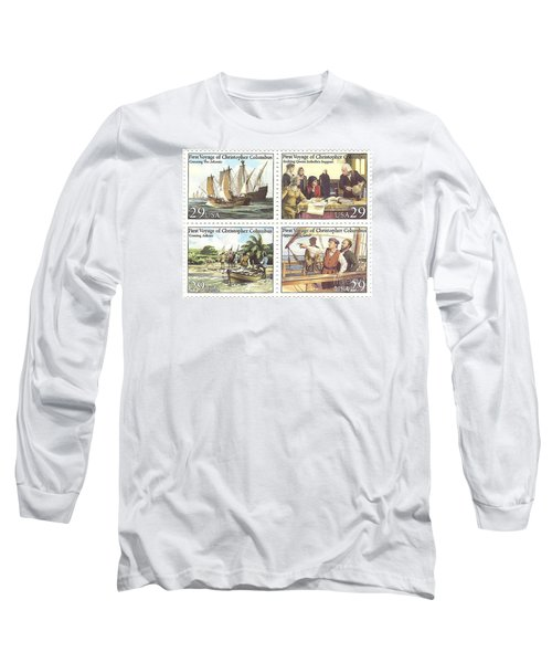 First Voyage Of Christopher Columbus Commemorative Stamp Block Long Sleeve T-Shirt