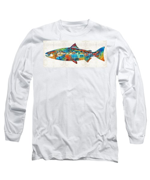Fish Art Print - Colorful Salmon - By Sharon Cummings Long Sleeve T-Shirt