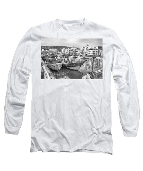 Fishing Boats B W Long Sleeve T-Shirt