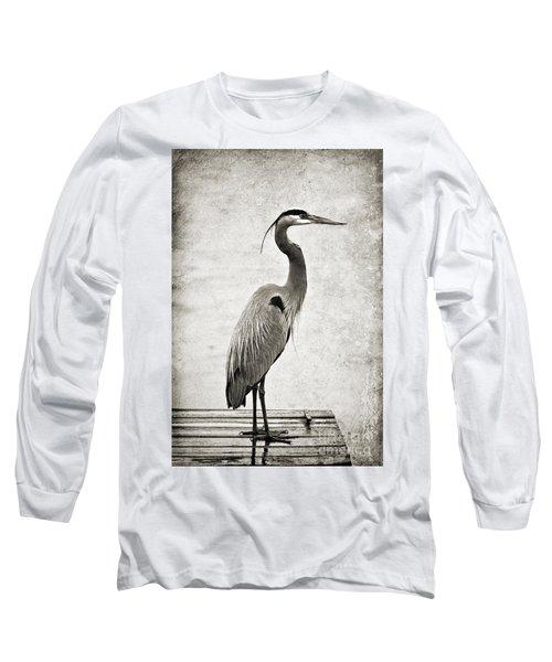 Fishing From The Dock Long Sleeve T-Shirt by Scott Pellegrin