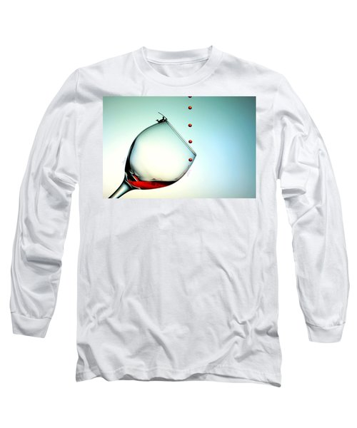 Fishing On A Glass Cup With Red Wine Droplets Little People On Food Long Sleeve T-Shirt by Paul Ge