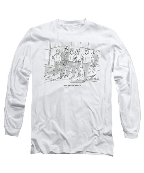 Five Guys Walking. One Is Wearing A Winter Coat Long Sleeve T-Shirt