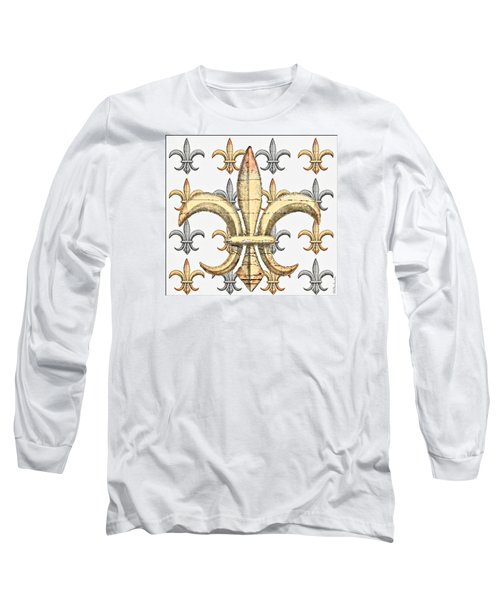 Fleur De Lys Silver And Gold Long Sleeve T-Shirt by Barbara Chichester