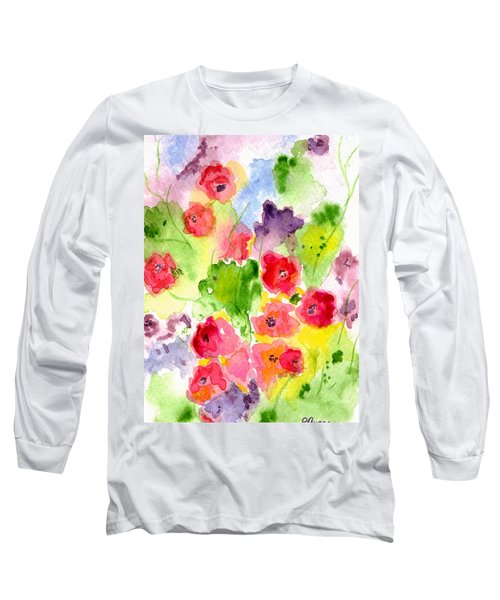 Long Sleeve T-Shirt featuring the painting Floral Fantasy by Paula Ayers