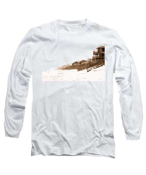 Florida Beach Sepia Print Long Sleeve T-Shirt