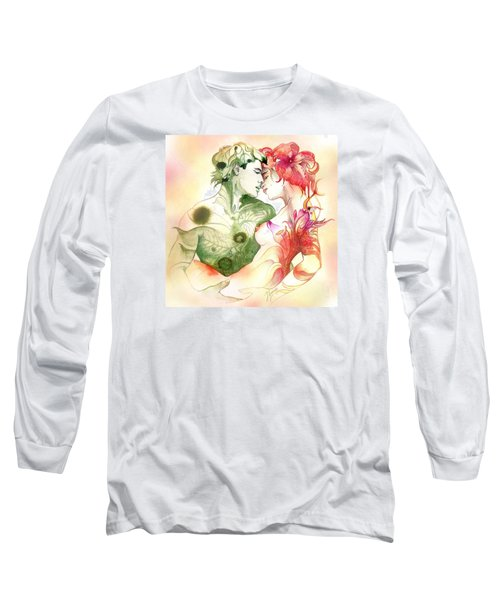 Long Sleeve T-Shirt featuring the painting Flower And Leaf by Anna Ewa Miarczynska