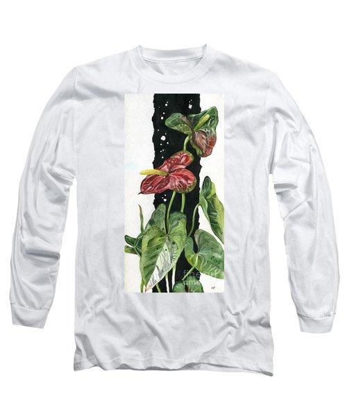 Long Sleeve T-Shirt featuring the painting Flower Anthurium 01 Elena Yakubovich by Elena Yakubovich