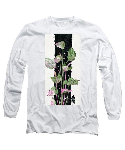Long Sleeve T-Shirt featuring the painting Flower Anthurium 02 Elena Yakubovich by Elena Yakubovich