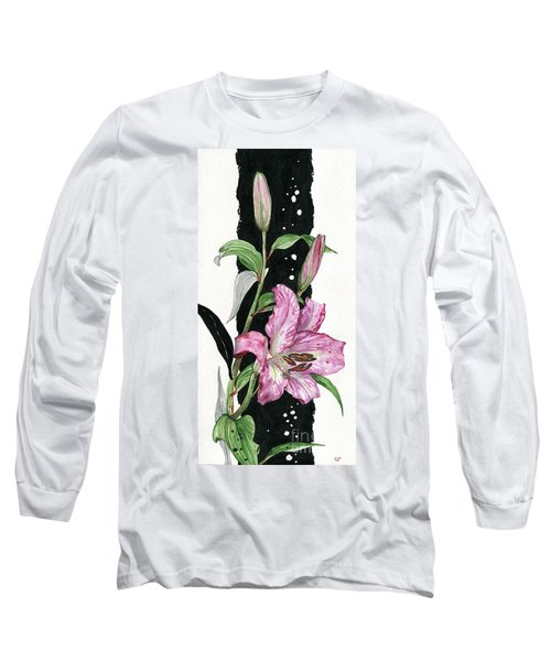 Long Sleeve T-Shirt featuring the painting Flower Lily 02 Elena Yakubovich by Elena Yakubovich