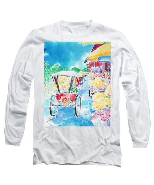 Flower Market  In Chiang Mai Long Sleeve T-Shirt