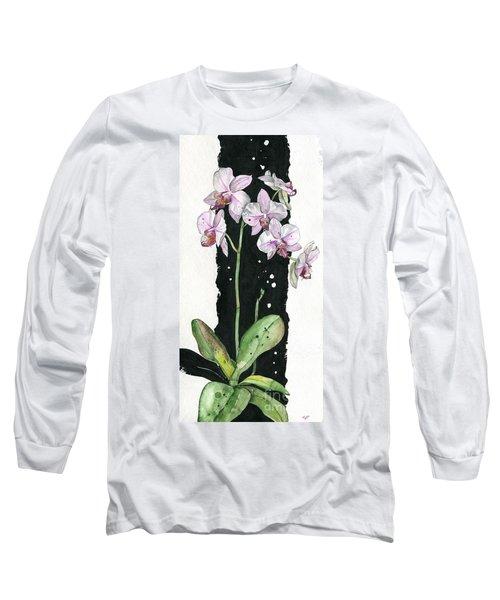 Long Sleeve T-Shirt featuring the painting Flower Orchid 02 Elena Yakubovich by Elena Yakubovich