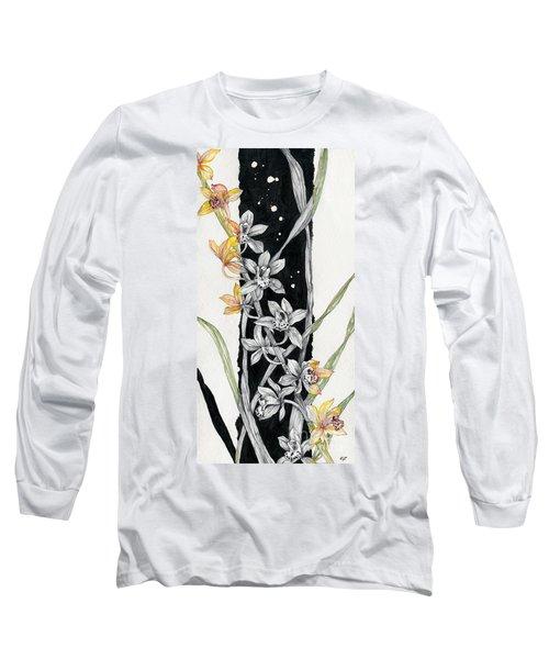 Long Sleeve T-Shirt featuring the painting Flower Orchid 07 Elena Yakubovich by Elena Yakubovich