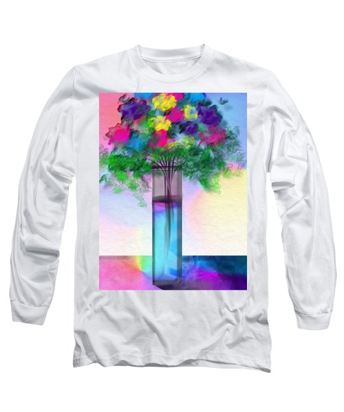 Long Sleeve T-Shirt featuring the digital art Flowers In A Glass Vase by Frank Bright