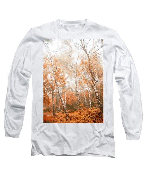 Foggy Autumn Aspens Long Sleeve T-Shirt