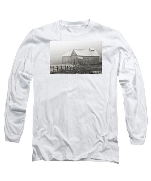 Foggy Barn Long Sleeve T-Shirt by Joan Davis