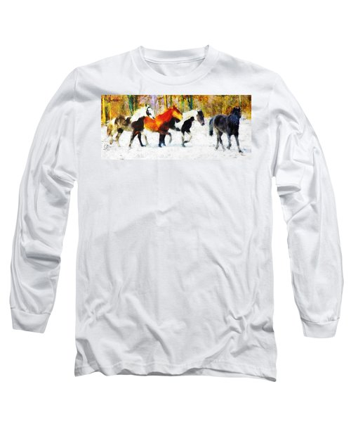 Long Sleeve T-Shirt featuring the painting Follow The Leader by Greg Collins