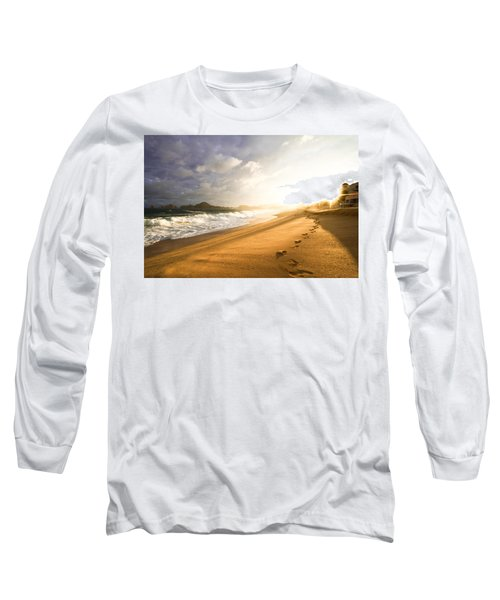 Long Sleeve T-Shirt featuring the photograph Footsteps In The Sand by Eti Reid