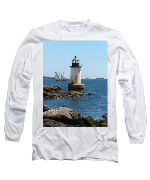 Long Sleeve T-Shirt featuring the photograph Fort Pickering Light by Denyse Duhaime