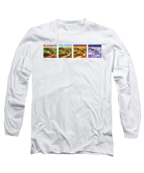 Long Sleeve T-Shirt featuring the painting Four Seasons On The Farm by Robin Moline