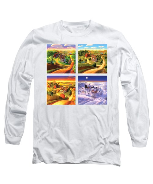 Four Seasons On The Farm Squared Long Sleeve T-Shirt by Robin Moline