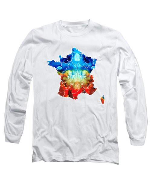 France - European Map By Sharon Cummings Long Sleeve T-Shirt by Sharon Cummings
