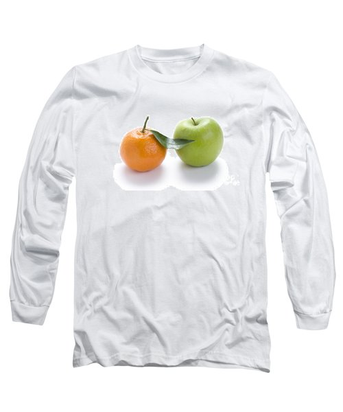 Long Sleeve T-Shirt featuring the photograph Fresh Apple And Orange On White by Lee Avison
