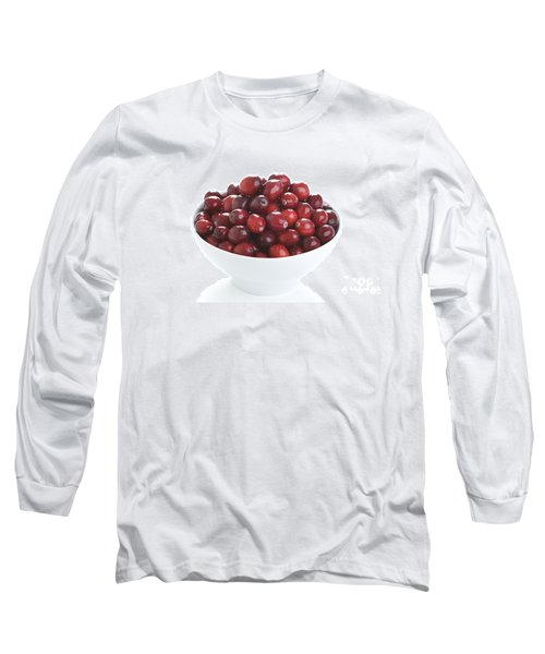 Long Sleeve T-Shirt featuring the photograph Fresh Cranberries In A White Bowl by Lee Avison