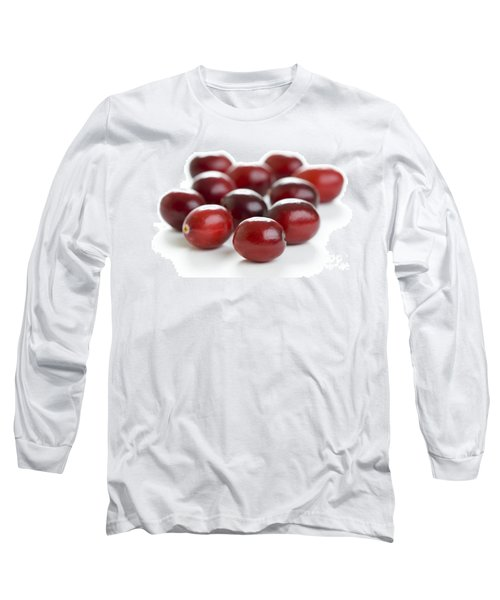 Long Sleeve T-Shirt featuring the photograph Fresh Cranberries Isolated by Lee Avison