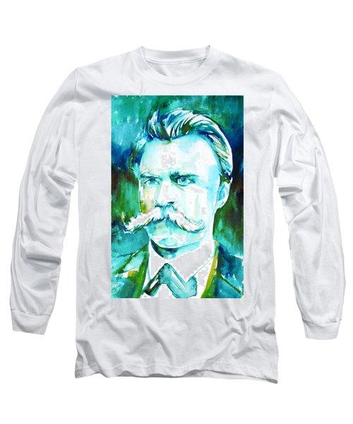 Friedrich Nietzsche Watercolor Portrait.1 Long Sleeve T-Shirt by Fabrizio Cassetta