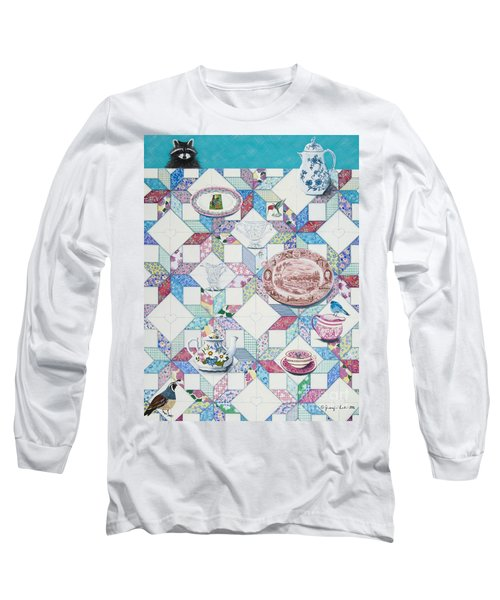 Long Sleeve T-Shirt featuring the painting Friends Come To Tea by Jennifer Lake