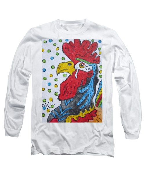 Funky Cartoon Rooster Long Sleeve T-Shirt by Kathy Marrs Chandler