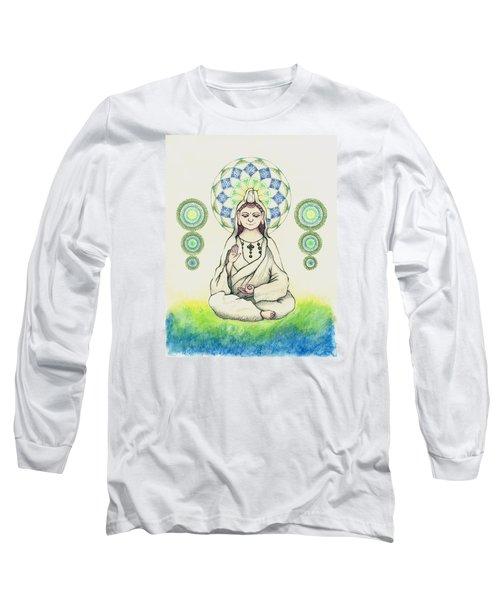 Long Sleeve T-Shirt featuring the painting Fureai Quan Yin In Kyoto by Keiko Katsuta