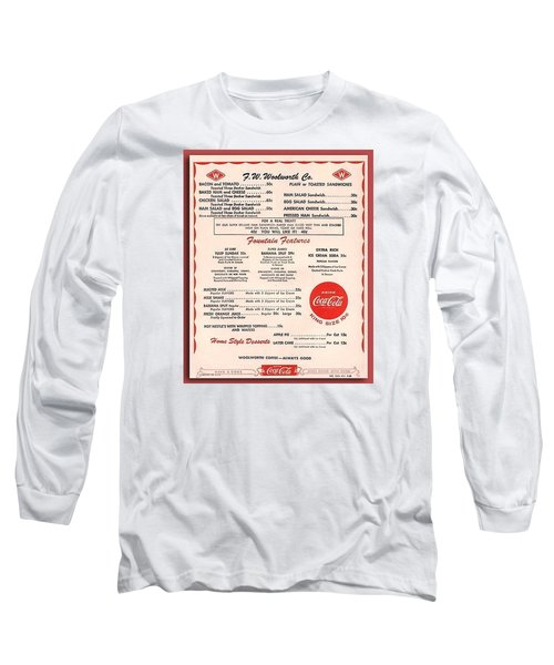 Fw Woolworth Lunch Counter Menu Long Sleeve T-Shirt