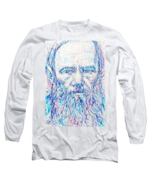 Fyodor Dostoyevsky / Colored Pens Portrait Long Sleeve T-Shirt by Fabrizio Cassetta
