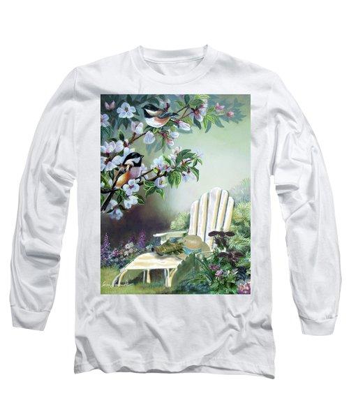 Chickadees In Blossom Tree Long Sleeve T-Shirt by Regina Femrite