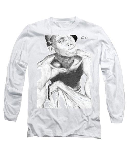 Long Sleeve T-Shirt featuring the drawing Garnett 2 by Tamir Barkan