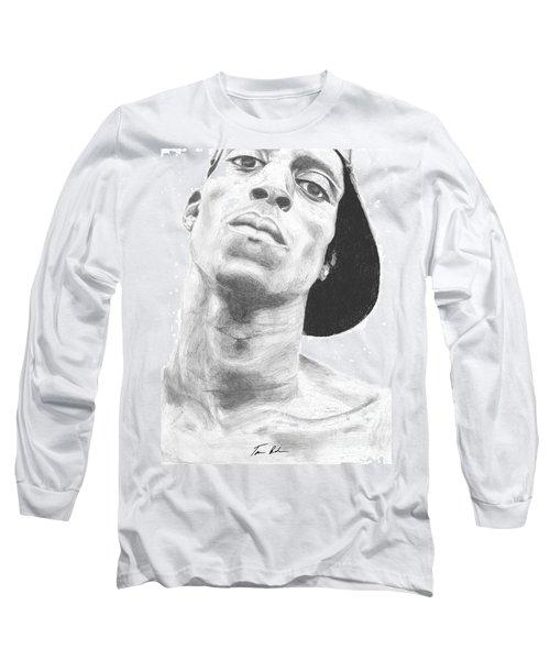 Long Sleeve T-Shirt featuring the drawing Garnett 3 by Tamir Barkan