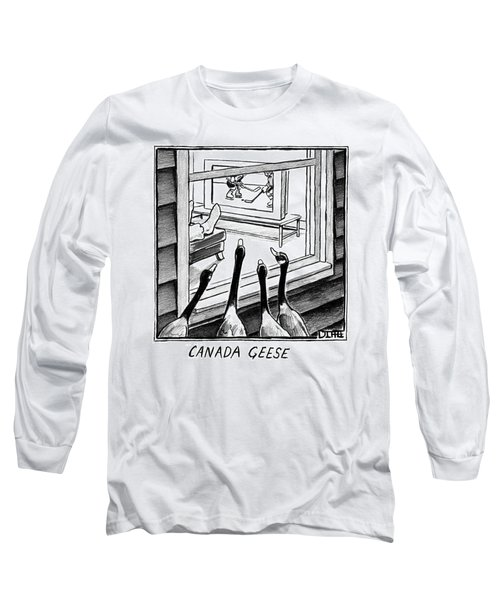 Geese Watching Hockey From A Window Long Sleeve T-Shirt