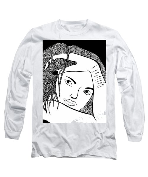 Long Sleeve T-Shirt featuring the drawing Genuine Scars by Jamie Lynn