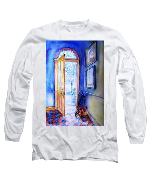 Long Sleeve T-Shirt featuring the painting Winter Doorway Ireland    by Trudi Doyle
