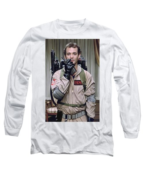 Long Sleeve T-Shirt featuring the painting Ghostbusters - Bill Murray Artwork 2 by Sheraz A