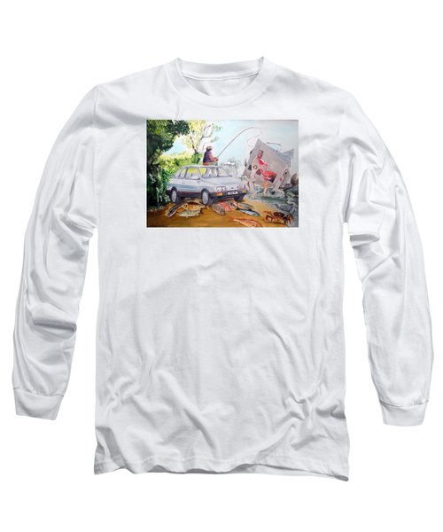 Gift Listen With Music Of The Description Box Long Sleeve T-Shirt by Lazaro Hurtado