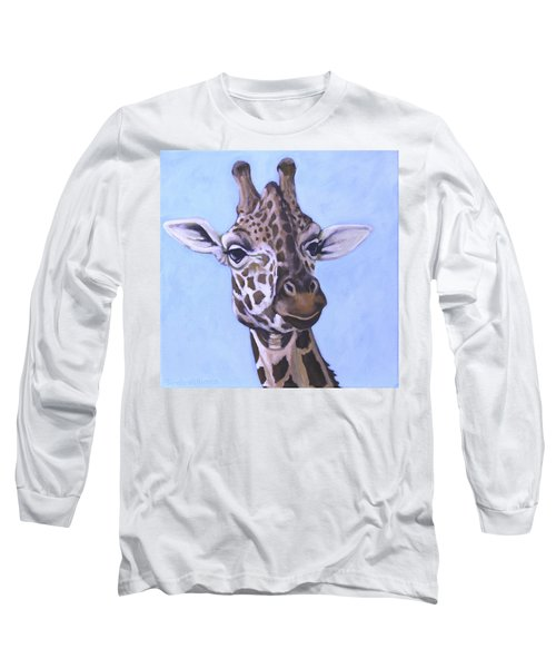 Giraffe Eye To Eye Long Sleeve T-Shirt by Penny Birch-Williams