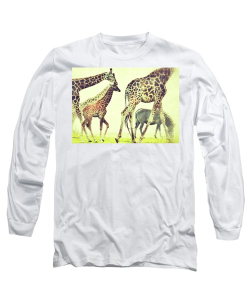 Giraffes And A Zebra In The Mist Long Sleeve T-Shirt