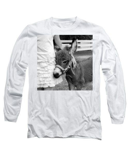 Long Sleeve T-Shirt featuring the photograph Girl And Baby Donkey by Brooke T Ryan