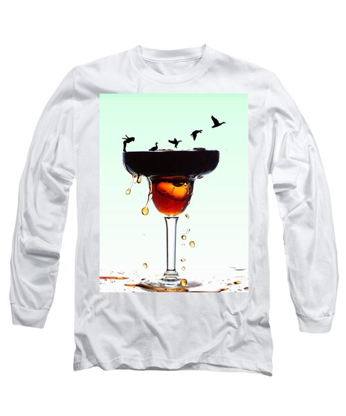 Girl And Geese Liquid Art Long Sleeve T-Shirt by Paul Ge